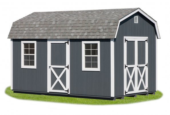 10'x16' Dutch Barn with Gray Duratemp Siding / White Trim / Gray Shingles.  Options Shown: Additional 3' Door