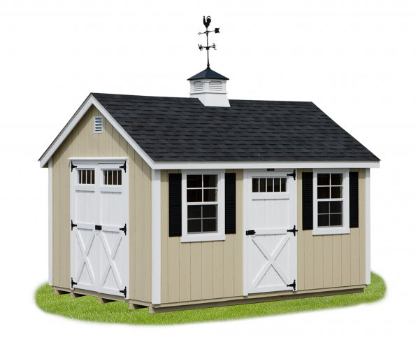 10'x14' A-Frame Shed with Tan Duratemp Siding / White Trim / Black 