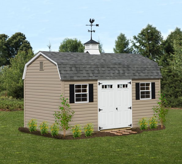 10'x16' Dutch Barn with Clay Vinyl Siding / White Trim / Slate Shingles.
