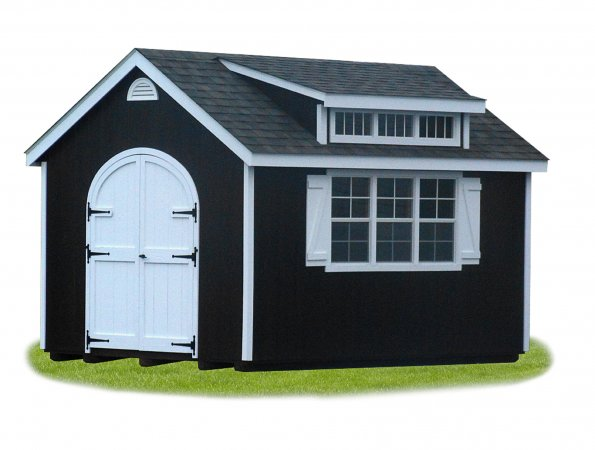 10'x14' Victorian Shed with Transom Dormer / LP Mushroom Stain Smart 