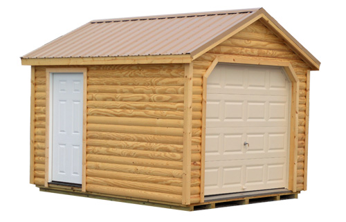 12'x16' Garage with Log Siding / Clear Stain / Tan Metal Roof.  Options Shown:  Log Siding