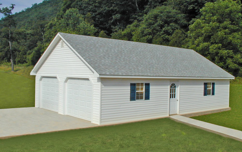 24'x40' Garage Built On-Site with White Vinyl Siding and Trim / Light 